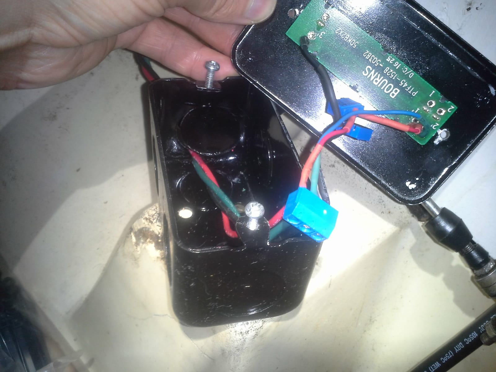 open motor control box, connected to control wiring